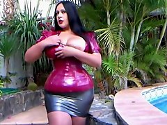 Busty Latex Blowjob Queen - Blowjob Handjob in the Garden - Cum on my Tits