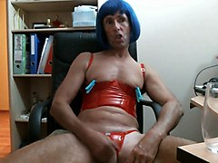 crossdresser jerks his dick with so much passion