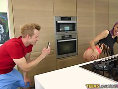 teen janice griffith fucks bf in kitchen