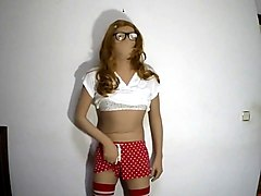 Zentai lori crossdresser in gf red polka shorts