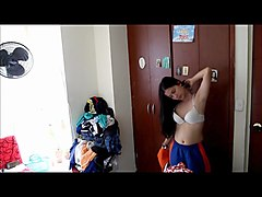 cute latina teen changing in her room film