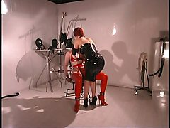 Hot lesbians in red and black leather