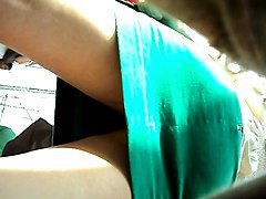 boso sexy babe in green skirt black panties upskirt