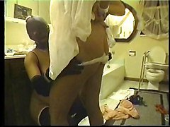 Three babes enjoy bondage in bathroom