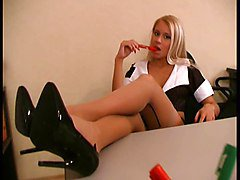 Sexy blond secretary FF stockings high heel pumps