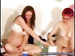Lesbian amateurs give oral in sex dare game