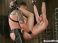 Tattooed master gets sucked by his slave part3