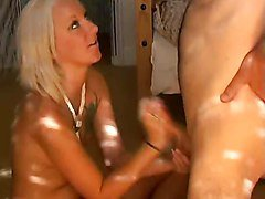 Cock milking iby a blond WF