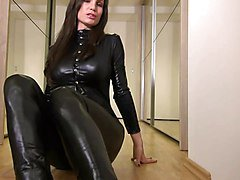 Sexy Babe in Shiny Black Catsuit
