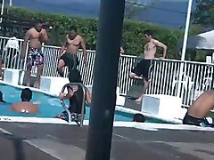Spy latina bikini ass on public pool