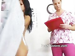 Belle gets a lesbo gyno check up for her new job.
