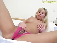amateur hot busty blonde housewife plays with her dildo.mp4
