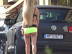 hot young berlin street hooker walking, sexy real whore ass