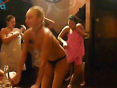 party. russian girls in sauna.