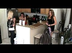 Lesbian Slave Cleans kitchen For Two Mistresses