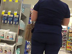 dark blue scrubs booty
