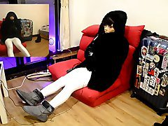 femalemask 2 layers zentai fur coat in the middle of summer