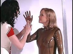 Hot blonde chick loves rubber bondage