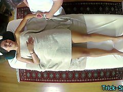 tricked asian babe blows