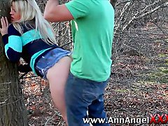 dirty blonde slut gets fucked in forest
