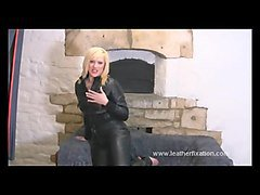 horny naked blonde masturbates pussy in tight leather pants