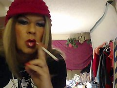 smoking tgirl pink hat lipstick stains