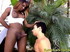 dominant tgirl cockpleasured by white guy