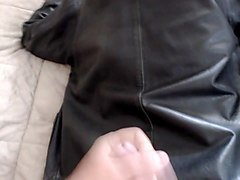 cumshot on my wife's leather jacket