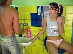 Cute teen girl gettingboned in the bathroom