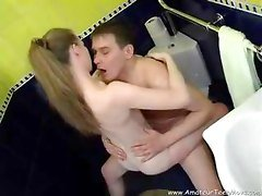 Playful Teen Sucking Big Cock In The Bathroom