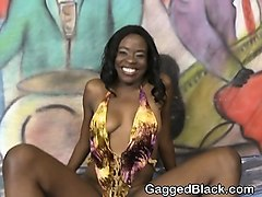 black tiny ebony getting her face mashed up on floor