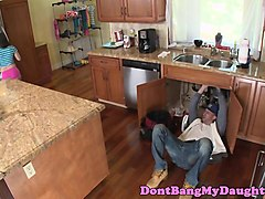 slutty petite teen facialized by plumber guy