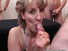 Gang bang party with hot blonde chick