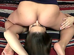 brunette sexpot in nylon stockings masturbating with big sex toy