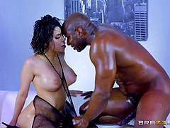 big tits tranny with glasses interracial sex with black man