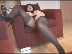 Silly Fake Tits Mature In Pantyhose And Stockings