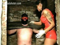 Beautiful Horny Dominatrix With Big Tits Electroshocks Nipples Of Tied Up Slave