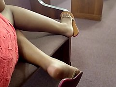My Friend Candid Beautiful Ebony Feet at Church 5