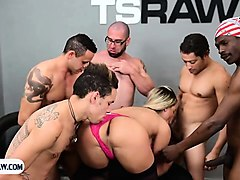 tranny gangbang fuck with a hot latina getting stuffed