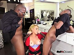 rich slut krissy lynn gets spit roasted by employees