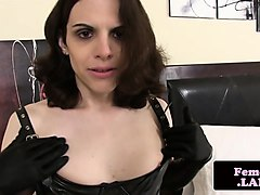 leather loving trap jerking while toying
