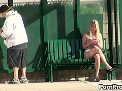 blonde stranger chick on the bench receives a dildo slap