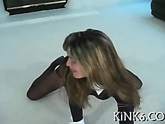 tiny mangos chick makes show in black pantyhose