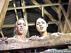 Dominant CFNM babes doggystyled in the barn