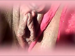 wet pussy of my perverted wifey is flashed on cam in close-up view