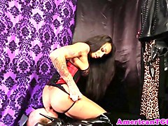 dominating tgirl blown by caged submissive