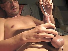 Jerk off Flashlight and electro cum shot