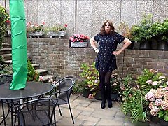 Sexy Crossdresser Alison playinging in the garden