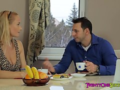 Brunette Teen Laci Uses Food