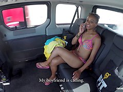 fucked in traffic - ebony hottie fucks white guy on the backseat of a car